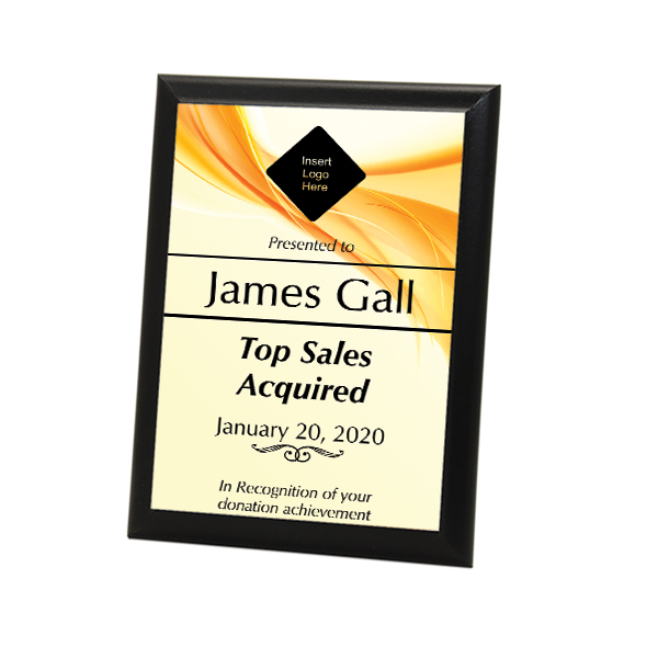 "Sales Goal Full Color 5"" X 7"" Photo Plaque with Black Edge"