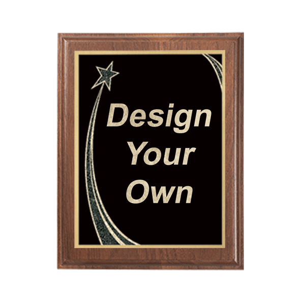 """Walnut 7"""" x 9"""" Plaque with Step Edge & Rising Star Plate"""