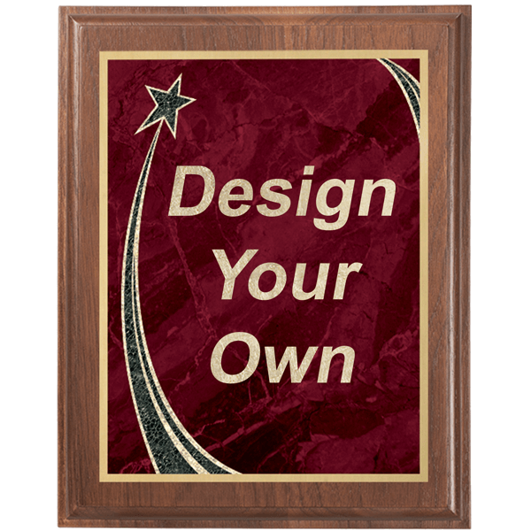 """Walnut 9"""" x 12"""" Plaque with Step Edge & Rising Star Plate"""