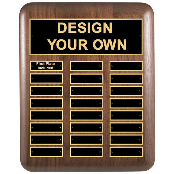 "Walnut Rounded Corners 11""x15"" Perpetual Plaque with 24 Plates"