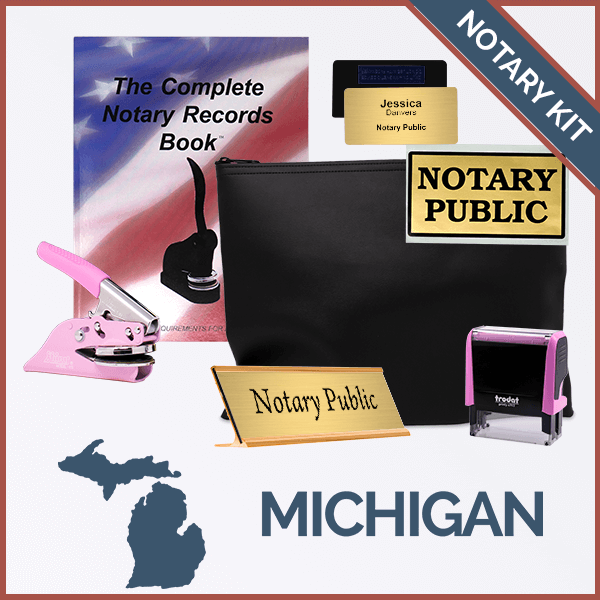 Michigan Pink Deluxe Notary Kit