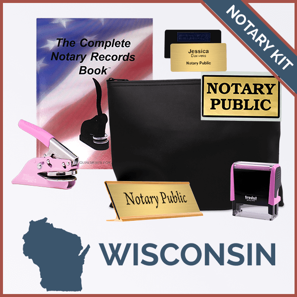 Wisconsin Pink Deluxe Notary Kit