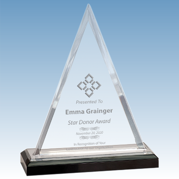 Donation Goal Beveled Triangle Acrylic Award