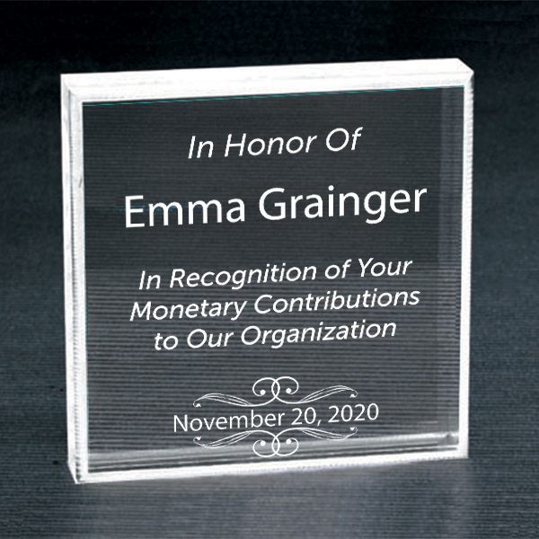 Donor Recognition Clear Paperweight