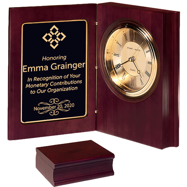 Donor Recognition Desk Book Clock