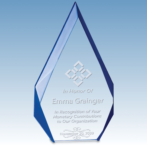 Donor Recognition Flame Series Free Standing Acrylic Award with Blue Accented Bevels