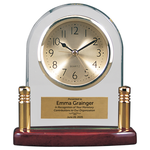 Donor Recognition Glass and Piano Finish Desktop Award Clock