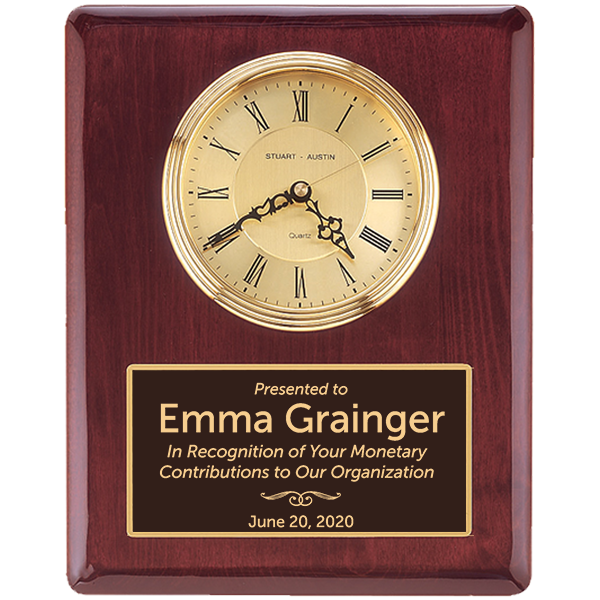Donor Recognition Rosewood Stained Piano Finish Wall Clock with Engraved Plate