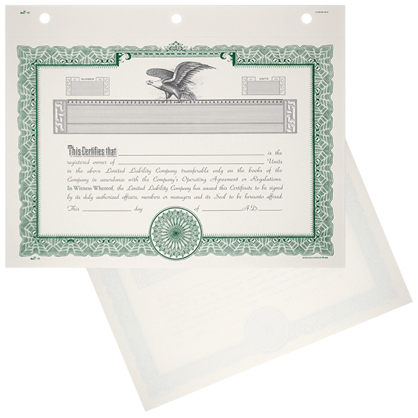 Limited Liability Company LLC Stock Certificates Blank Set of 20