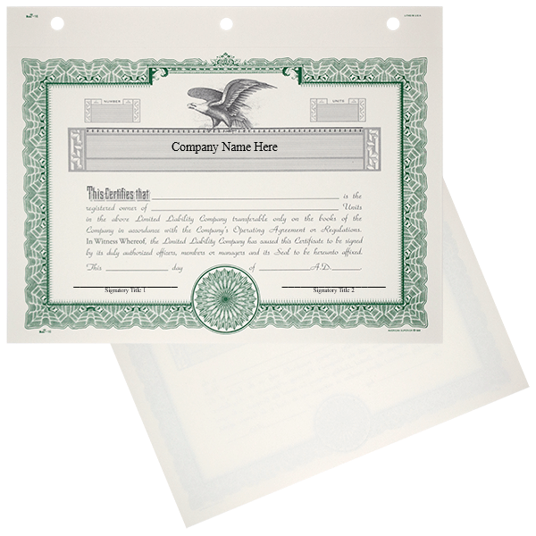 Duke 16 LLC Units Certificate Printed Set of 20