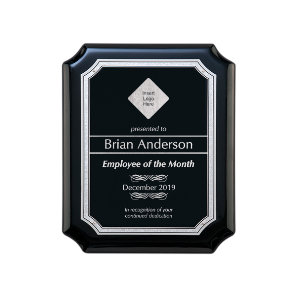 Employee of the Month Gloss Black and Silver Wall Plaque with Scalloped Corners