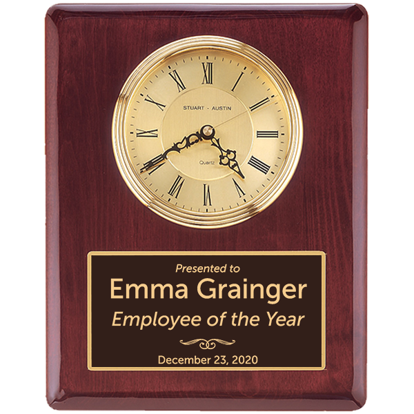 Employee of the Year Rosewood Stained Piano Finish Wall Clock with Engraved Plate
