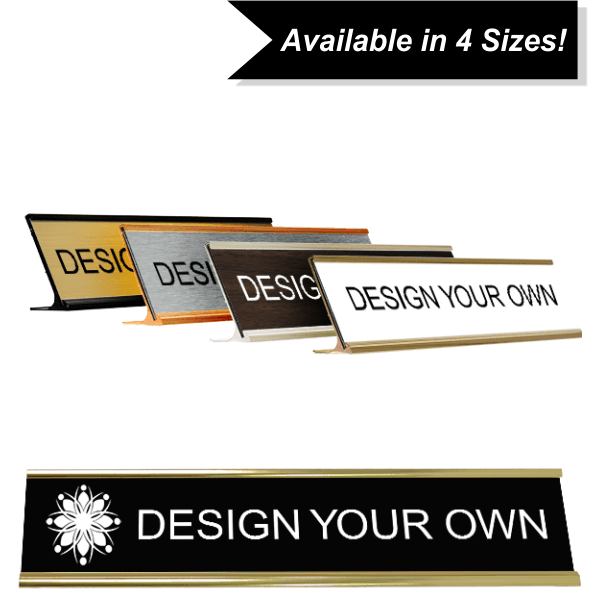 Engraved Deskplate with holder (Traditional Aluminum)
