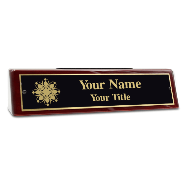 Engraved Brass Desk Name Plate with Business Card Holder 2