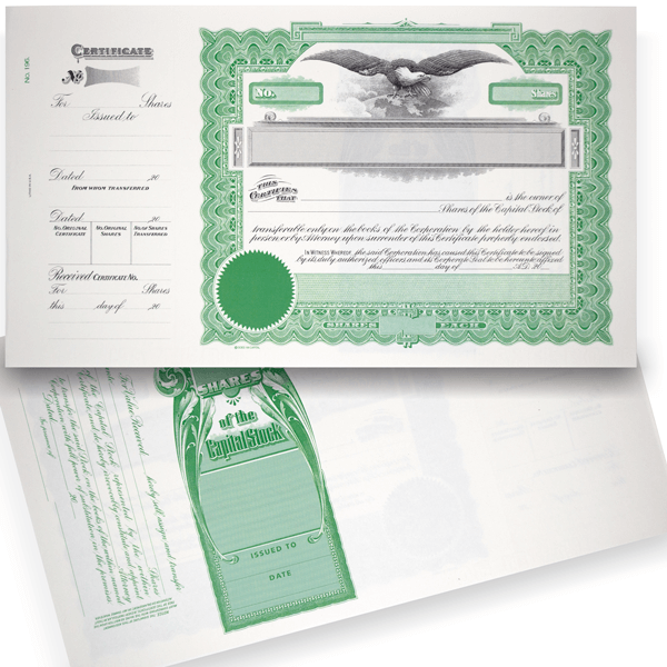 GOES 196 Corporate Stock Certificate Blank Set of 20