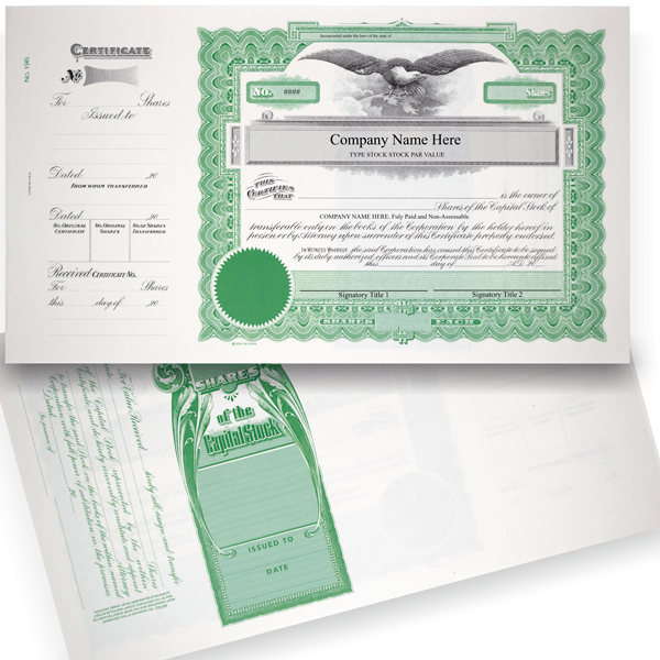 GOES 196 Corporate Stock Certificate Printed Set of 20