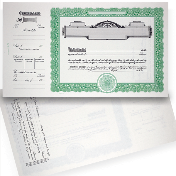 GOES 722 Corporate Stock Certificate Blank Set of 20