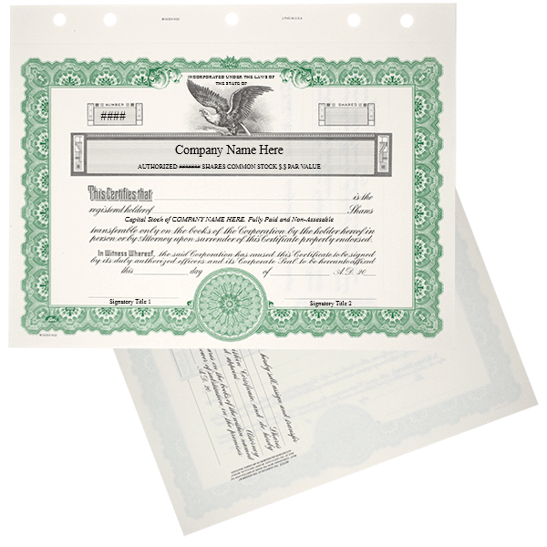 GOES KG2 Corporate Stock Certificate Printed Set of 20