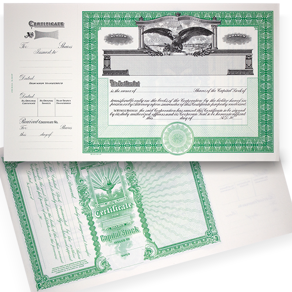 GOES 364 Blank Capital Stock Certificates | Quantity of 20 or More