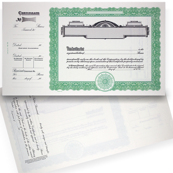 GOES 722 Blank Standard Stock Certificates | Quantity of 20 or More