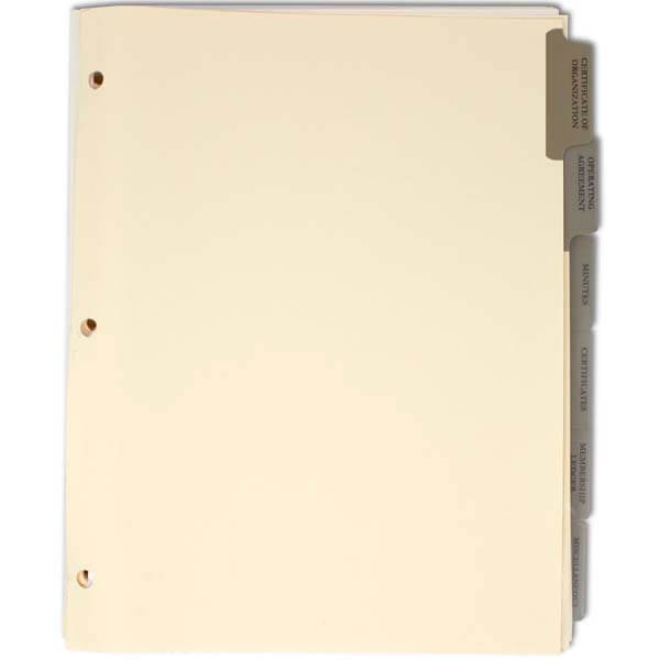 Index Tab Divider set for LLC Corporate Kits