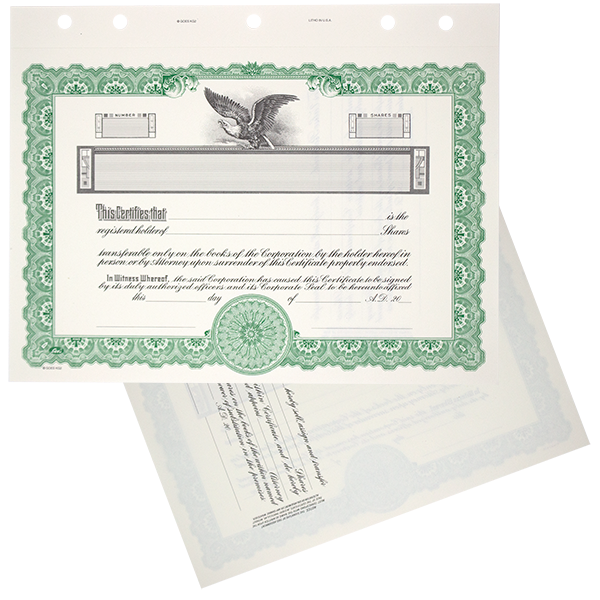 GOES KG2 Blank Corporate Stock Certificates