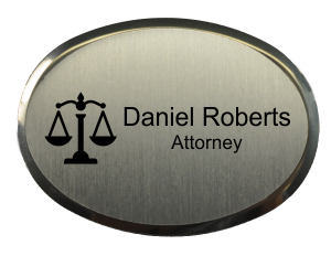 Law Office Oval Name Tag with Premier Holder (2.5