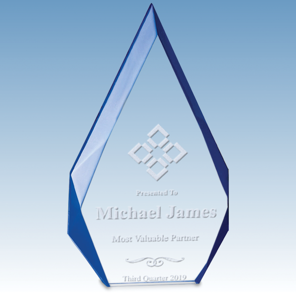 Most Improved Scholastic Flame Series Free Standing Acrylic Award with Blue Accented Bevels