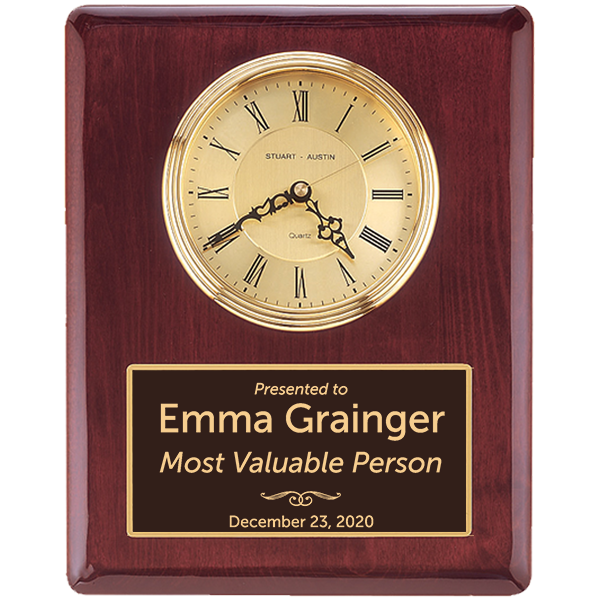 Most Valuable Person Rosewood Stained Piano Finish Wall Clock with Engraved Plate