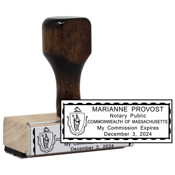 Notary Rectangle Stamp - Wood Handle