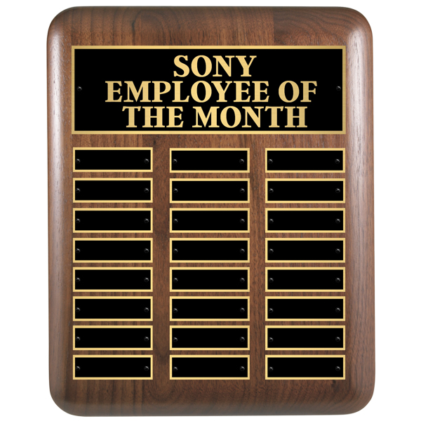 Employee of the Month Plaque in Walnut 11 x 15 with 24 Plates