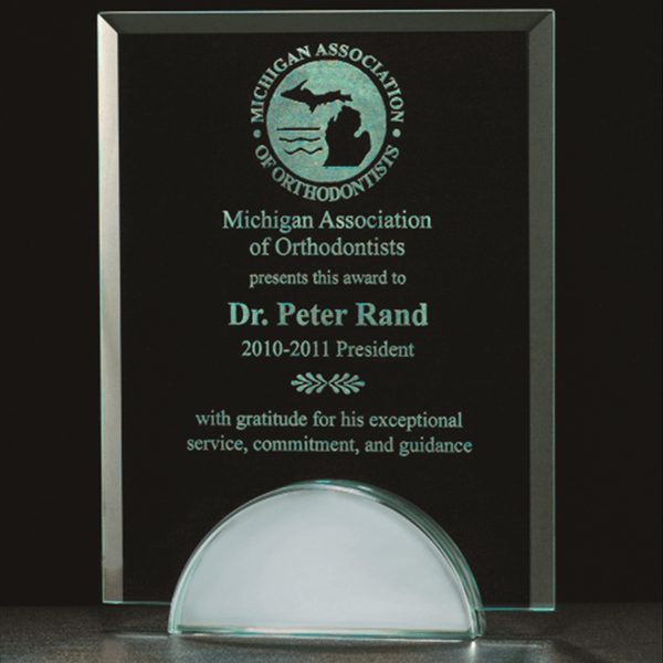 G2607 -  Contemporary Glass Award with Round Base