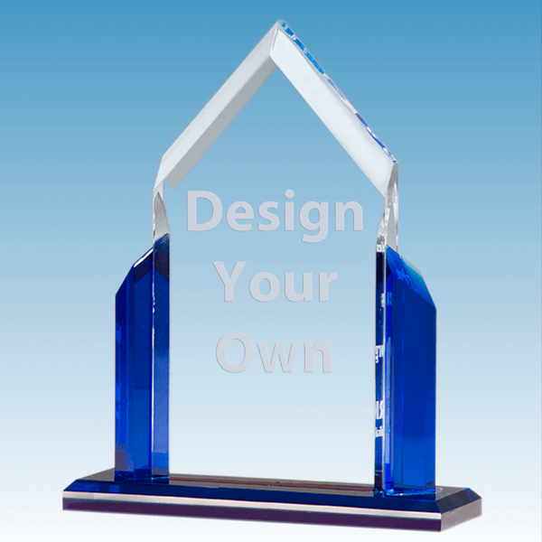 Peak Series Clear Acrylic Award w/ Blue Accents | 4