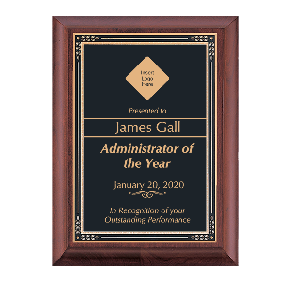 Performance Recognition Cherry Award Plaque w/ Black Brass Plate