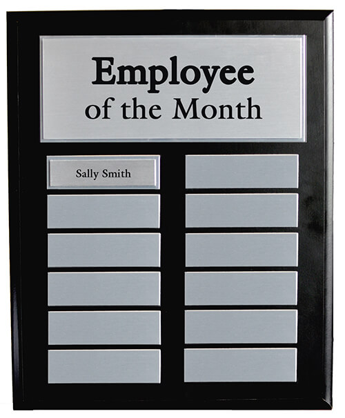 Employee of the Month Black Master Board with Silver plates