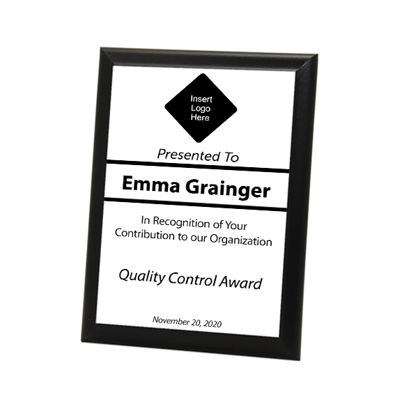 "Quality Control Goal Full Color 5"" X 7"" Photo Plaque with Black Edge"