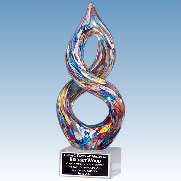 Retirement Recognition Multi-Color Helix Art Glass Award