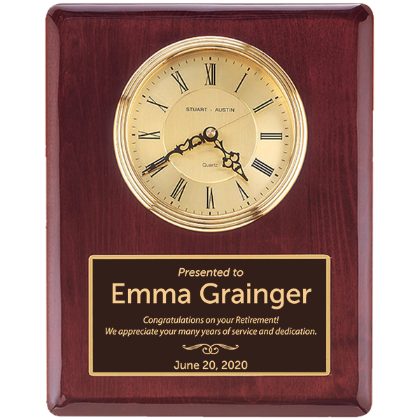 Retirement Recognition Rosewood Stained Piano Finish Wall Clock with Engraved Plate