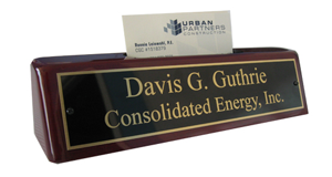 Rosewood Desk Plate with Business Card Holder