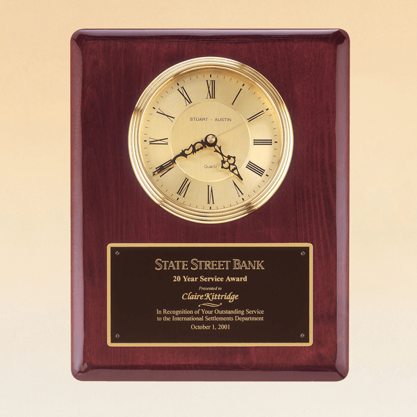 Rosewood Stained Piano Finish Wall Clock with Engraved Plate | 10.5