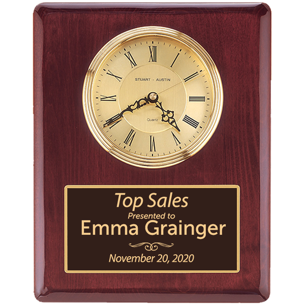 Sales Goal Rosewood Stained Piano Finish Wall Clock with Engraved Plate