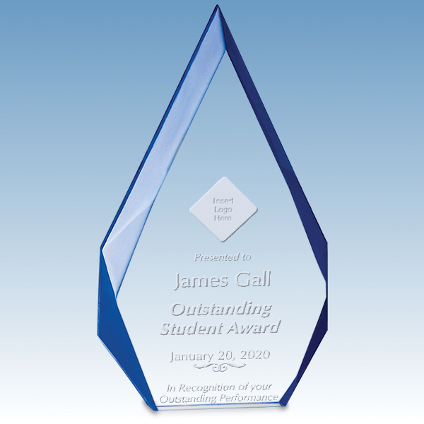 Student Flame Series Free Standing Acrylic Award with Blue Accented Bevels