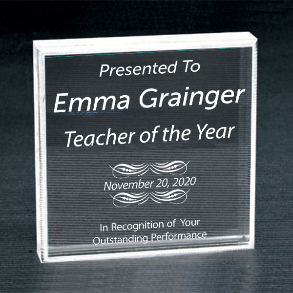 Teacher of the Year Clear Paperweight