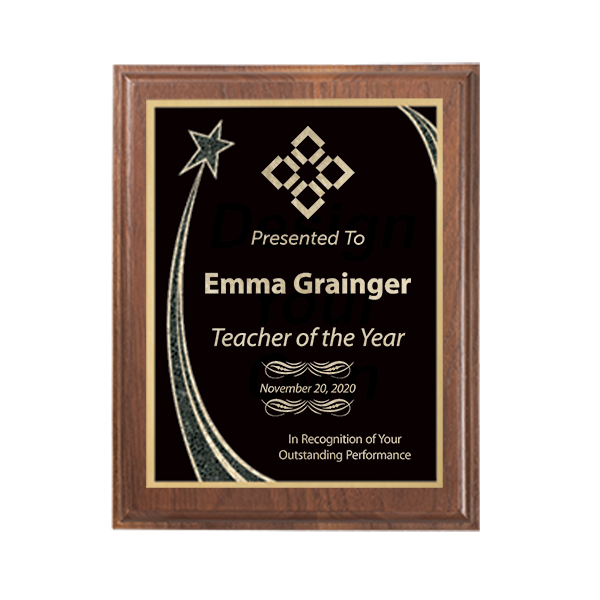 Teacher of the Year Rising Star Walnut Plaque