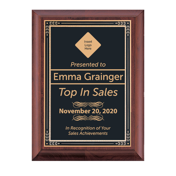 Top in Sales Cherry Award Plaque w/ Black Brass Plate