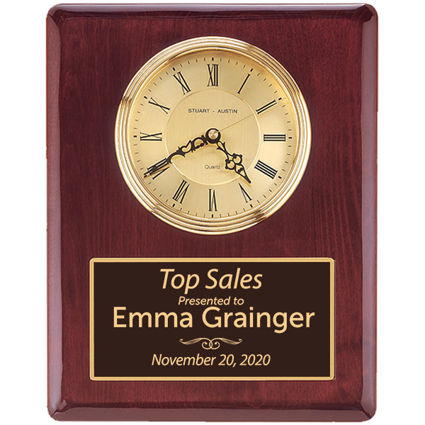 Top Sales Rosewood Stained Piano Finish Wall Clock with Engraved Plate