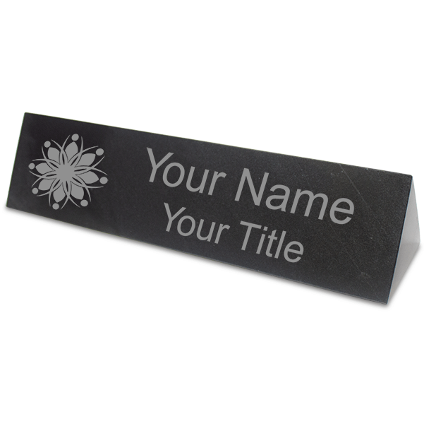 "Triangle Top Engraved Black Marble Desk Name Plate | 2"" x 10"""